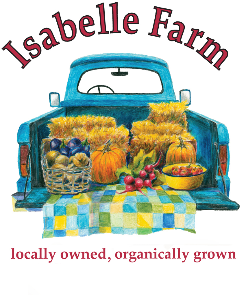 logo for isbelle farm in lafayette, locally owned, organically grown. an illustration of a blue pick-up truck from the rear with the bed door open and an offering of produce on a checkered blanket