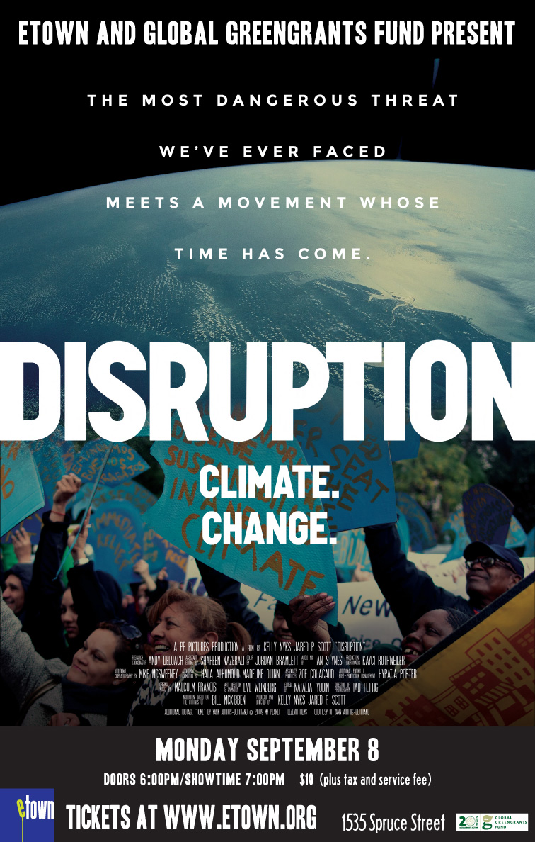 movie poster fpr the film Disruption, an image of people and a view of earth from above with information about the film