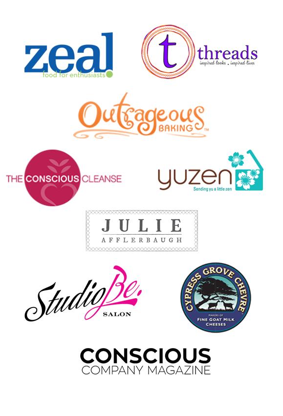 Collection of Power Night Boulder's sponsor logos: Zeal, Threads, Outrageous Baking, The Conscious Cleanse, Yuzen, Julie Afflerbaugh, StudioBe Salon, Cypress Grove Chevre, & Conscious Company Magazine