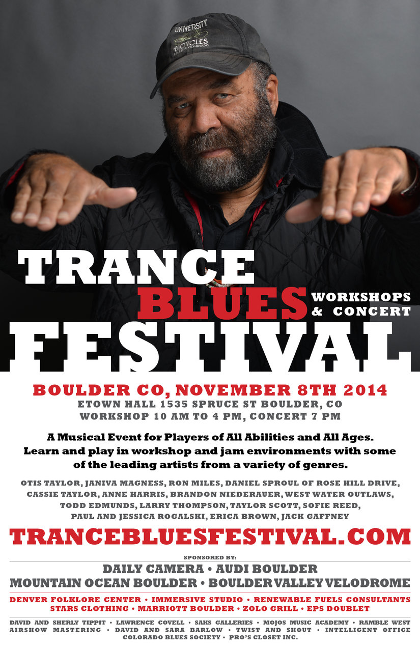 a poster for the Trance Blues Jame Festival with Otis Taylor at the top wearing a hat and holding his fingertips out to the audience. The rest of the poster is filled with text and information regarding the event, which is also below the image in the body of the ticket details