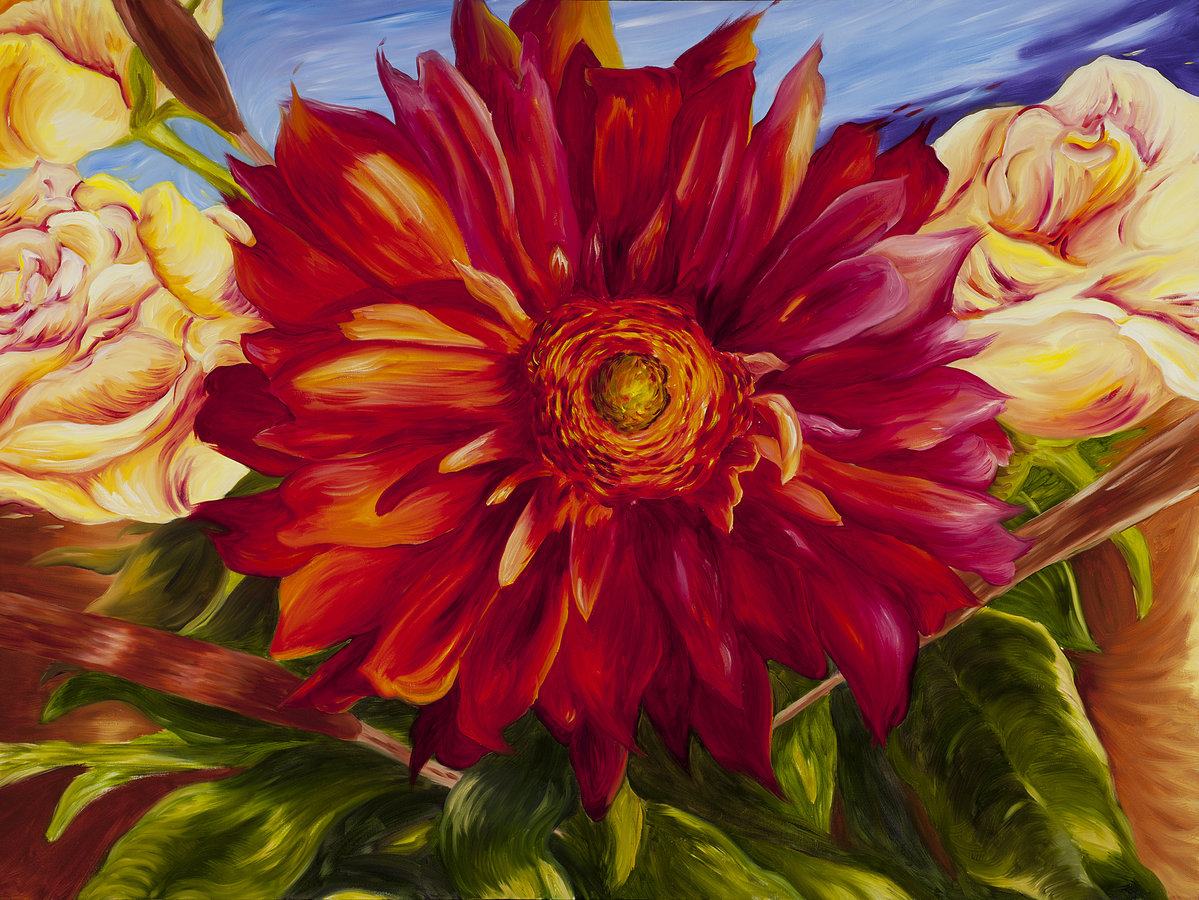 a painting of a large red flower, with other lush blues and oranges in the background
