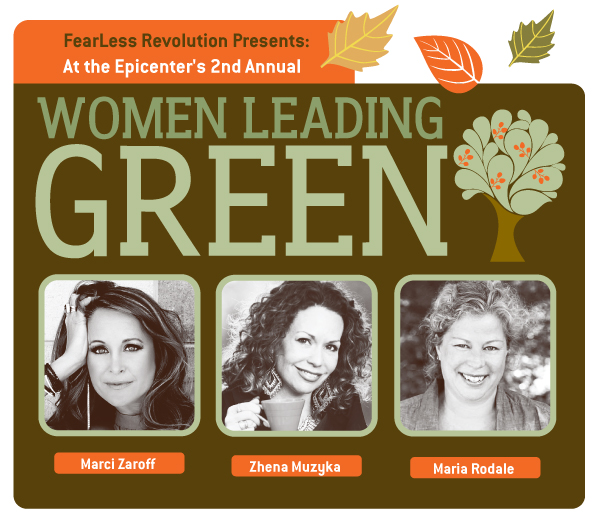 a promotional image for FearLess Revolution Presents: At the Epicenter's 2nd Annual Women Leading Green, with illustrated leaves and trees, falls colors like brown, orange, and green, and three portraits of some of the speakers of the event, headshots all in sepia tone