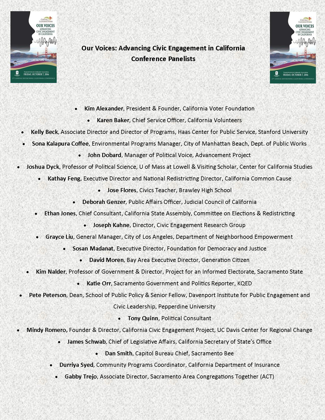 List of Panelists