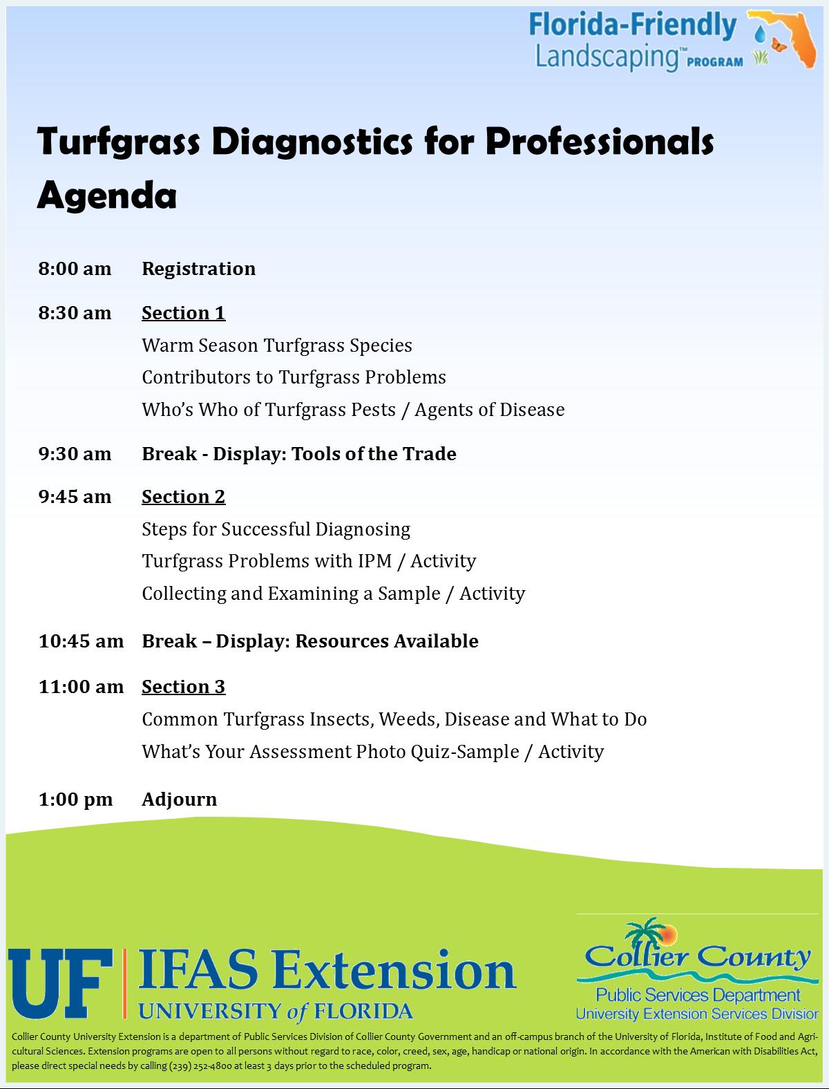 Turfgrass diagnostics agenda