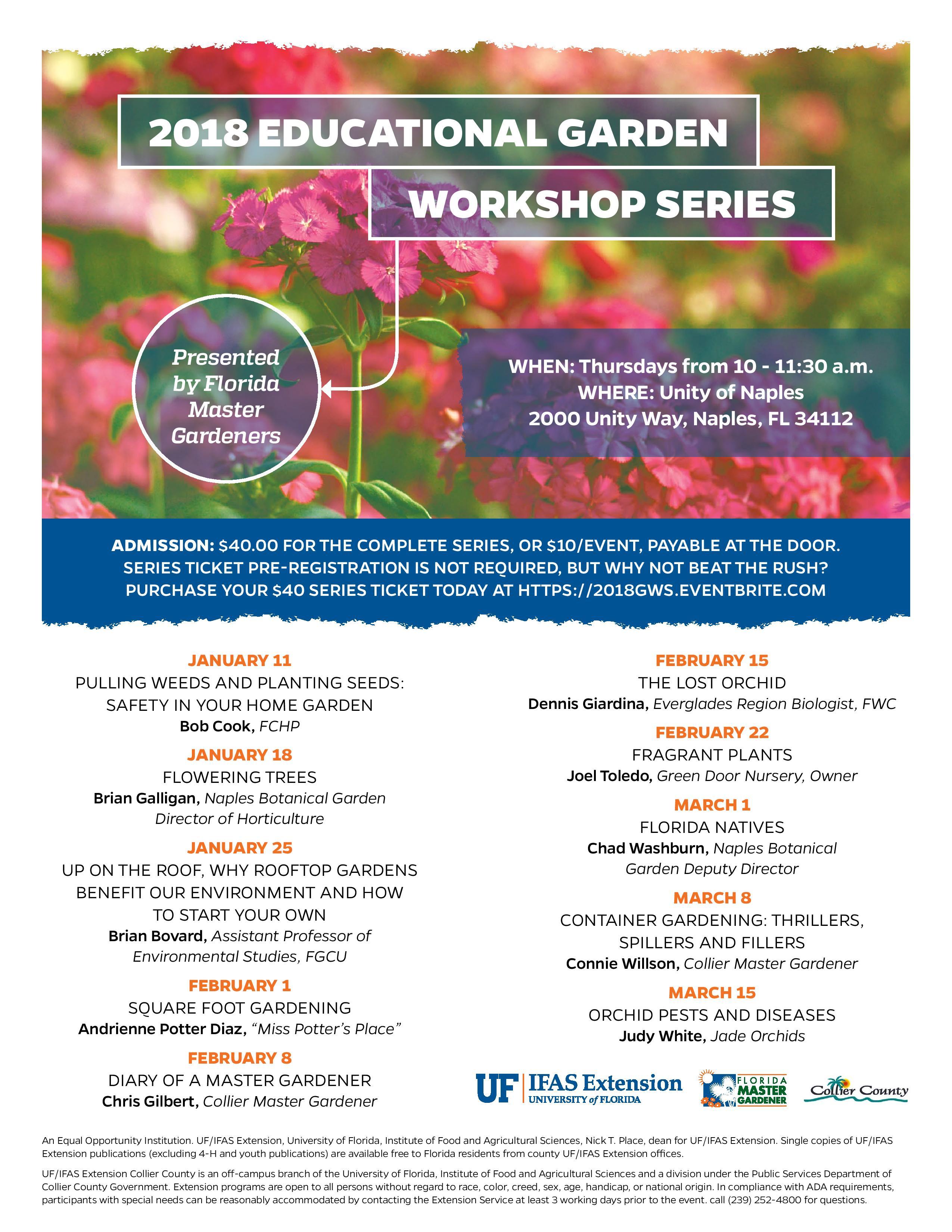 Garden workshop Series Educational Speakers