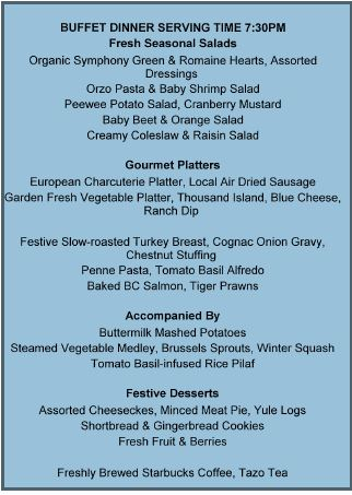 fESTIVAL OF LIGHTS DINNER MENU
