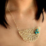 Ana-Maria Necklace- Hand Woven Gold and Turquoise Halfmoon Artisan Bib Statement Necklace