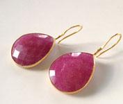 Ruby Quartz Tear Drop Earrings