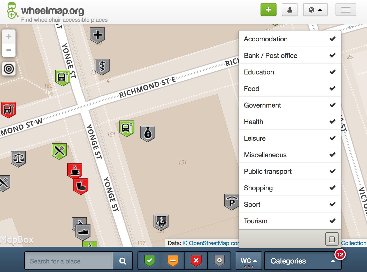 Screenshot of wheelmap.org in Toronto