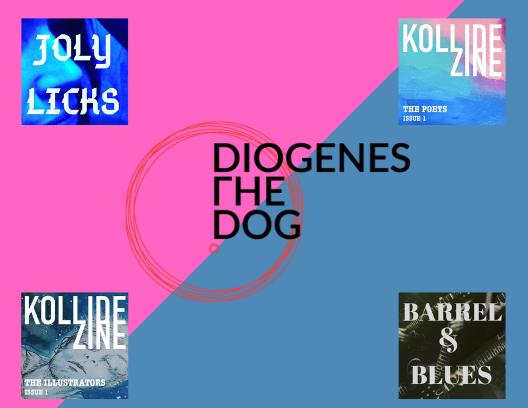 Logos: Joly Licks, Diogenes The Dog, Kollide Zine, Barrel Blues