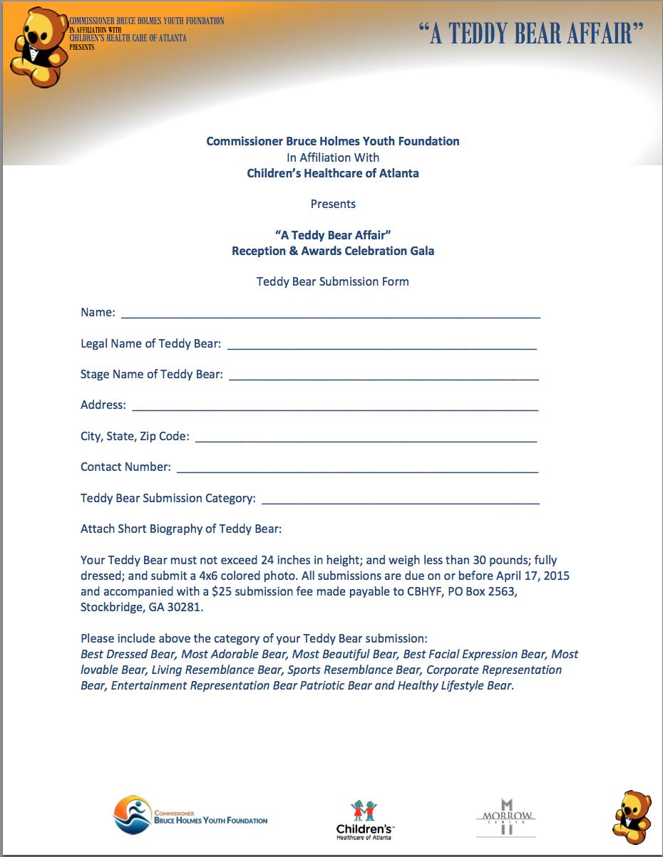 Teddy Bear Affair Registration form