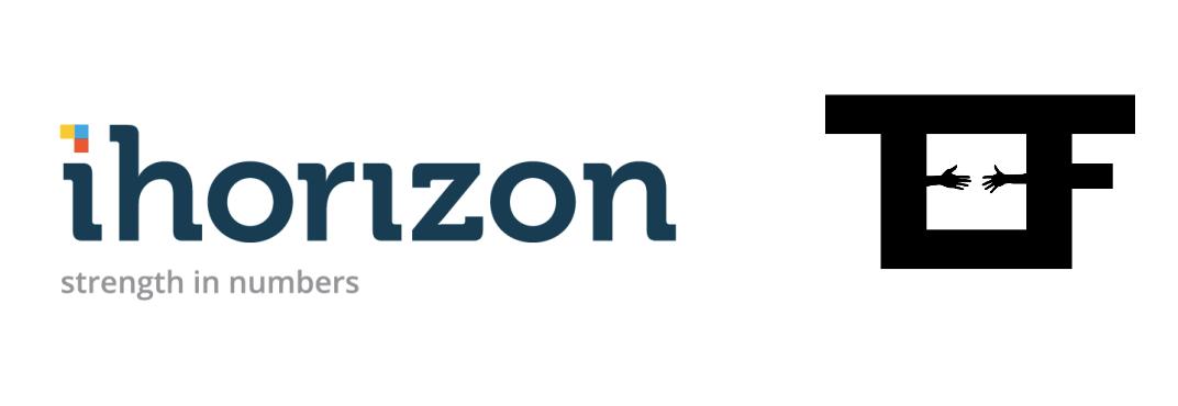 Logos of iHorizon and Techfugees