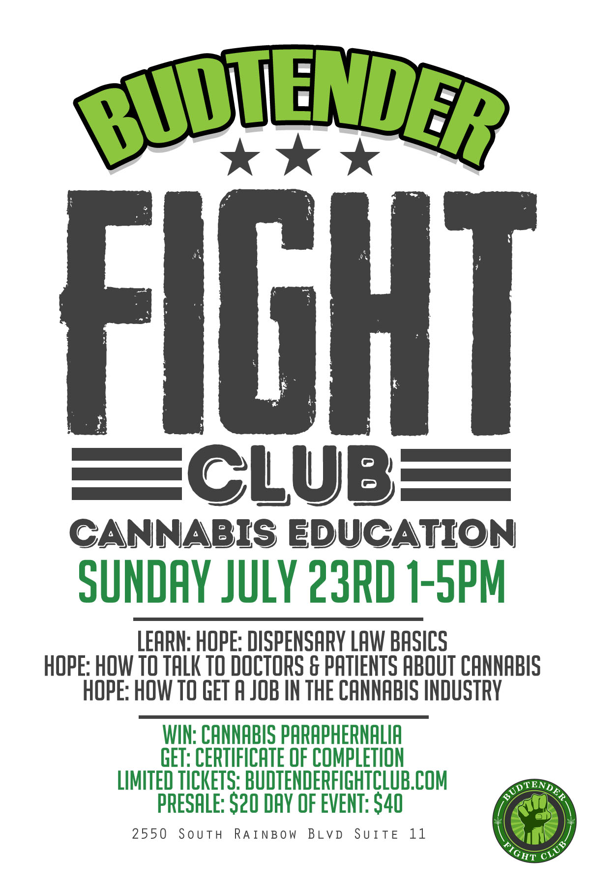 budtender fight club : cannabis education round 4 tickets, sun