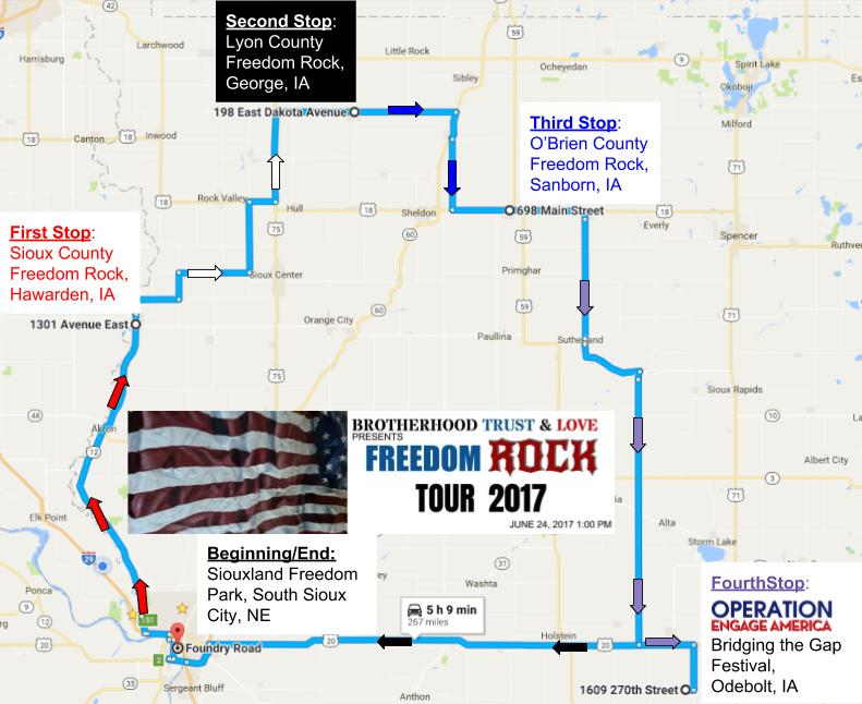 Freedom Rock Tour- Map