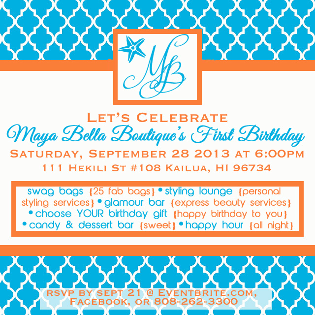 Maya Bella Birthday Invite