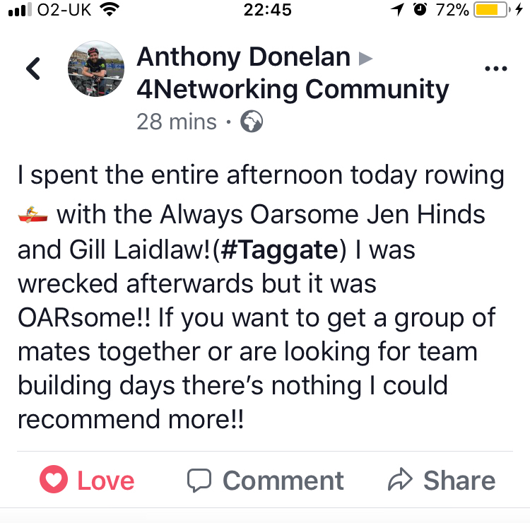 Another Always Oarsome testimonial
