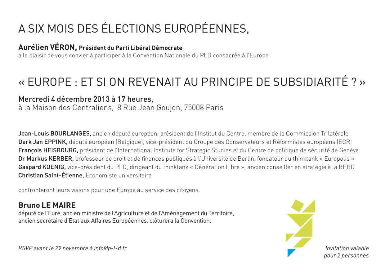 Carton d'invitation de la convention Europe du PLD avec Bruno Le Maire, Christian Saint-Etienne