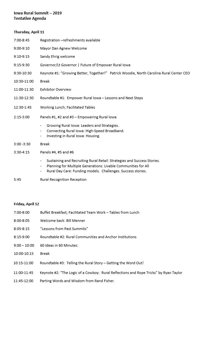 Iowa Rural Summit 2019- Agenda