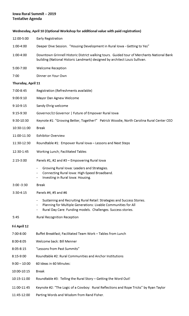 Iowa Rural Summit - Tentative Agenda