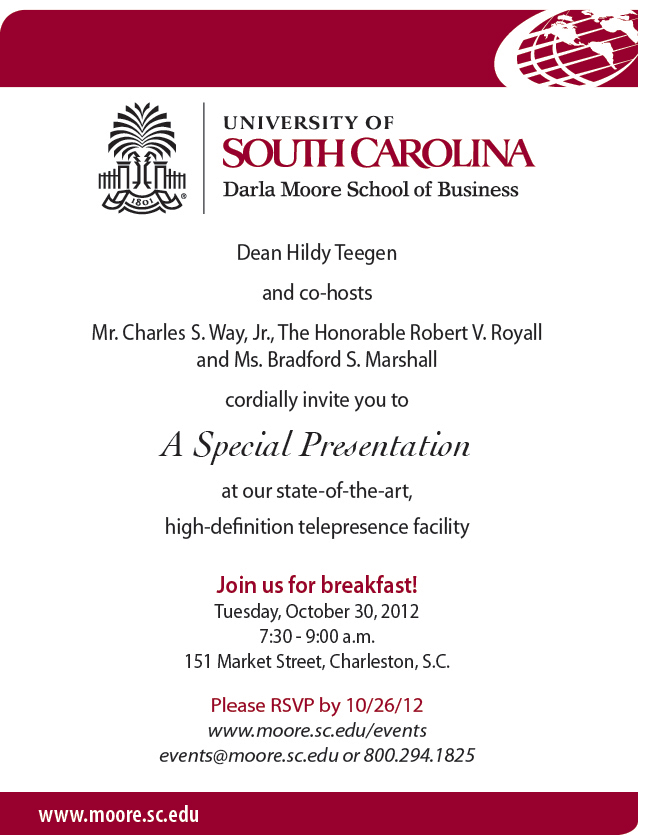 A special presentation at our telepresence facility, Oct. 30, 7:30-9:00 a.m., 151 Market St. Charleston, SC