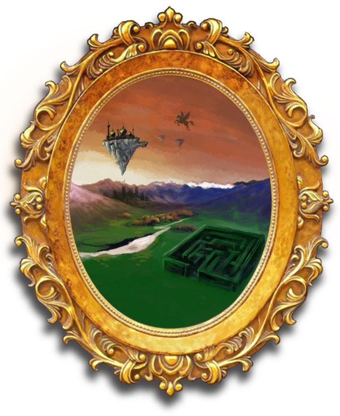 Mirror with fantasy world inside