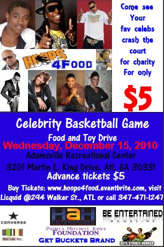 Celebrity basketball game flyer
