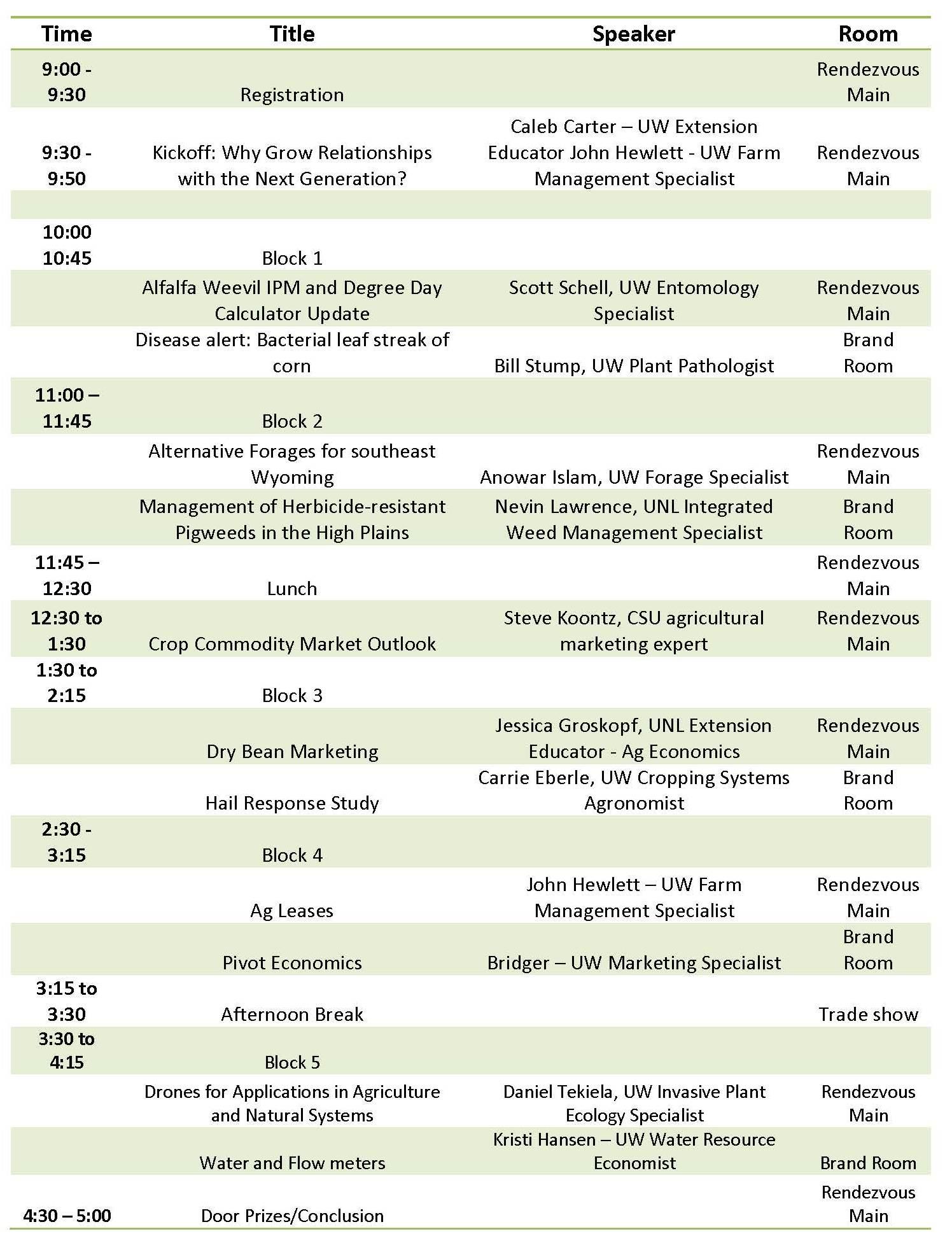 HPCC schedule