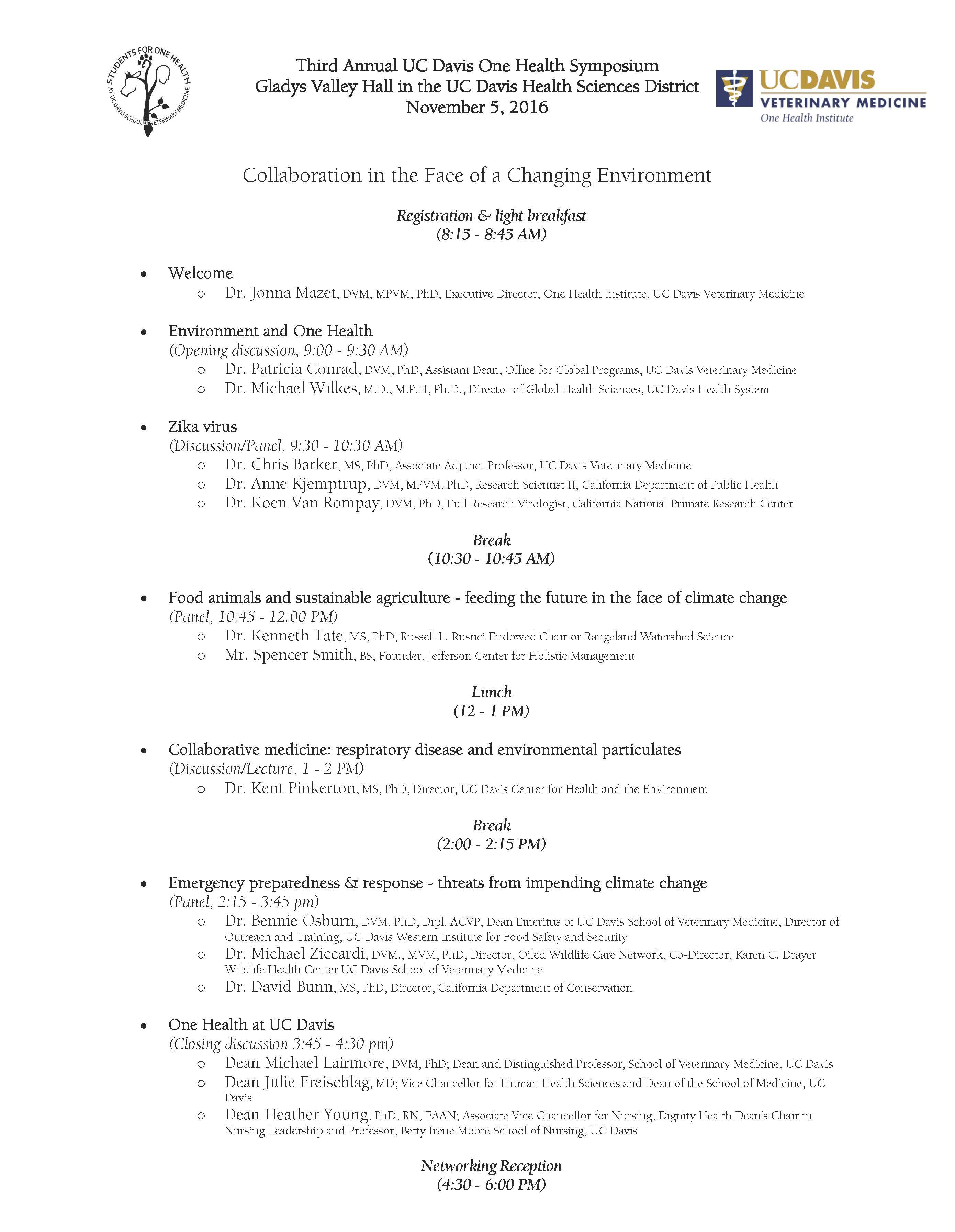 Agenda for One Health Symposium 2016