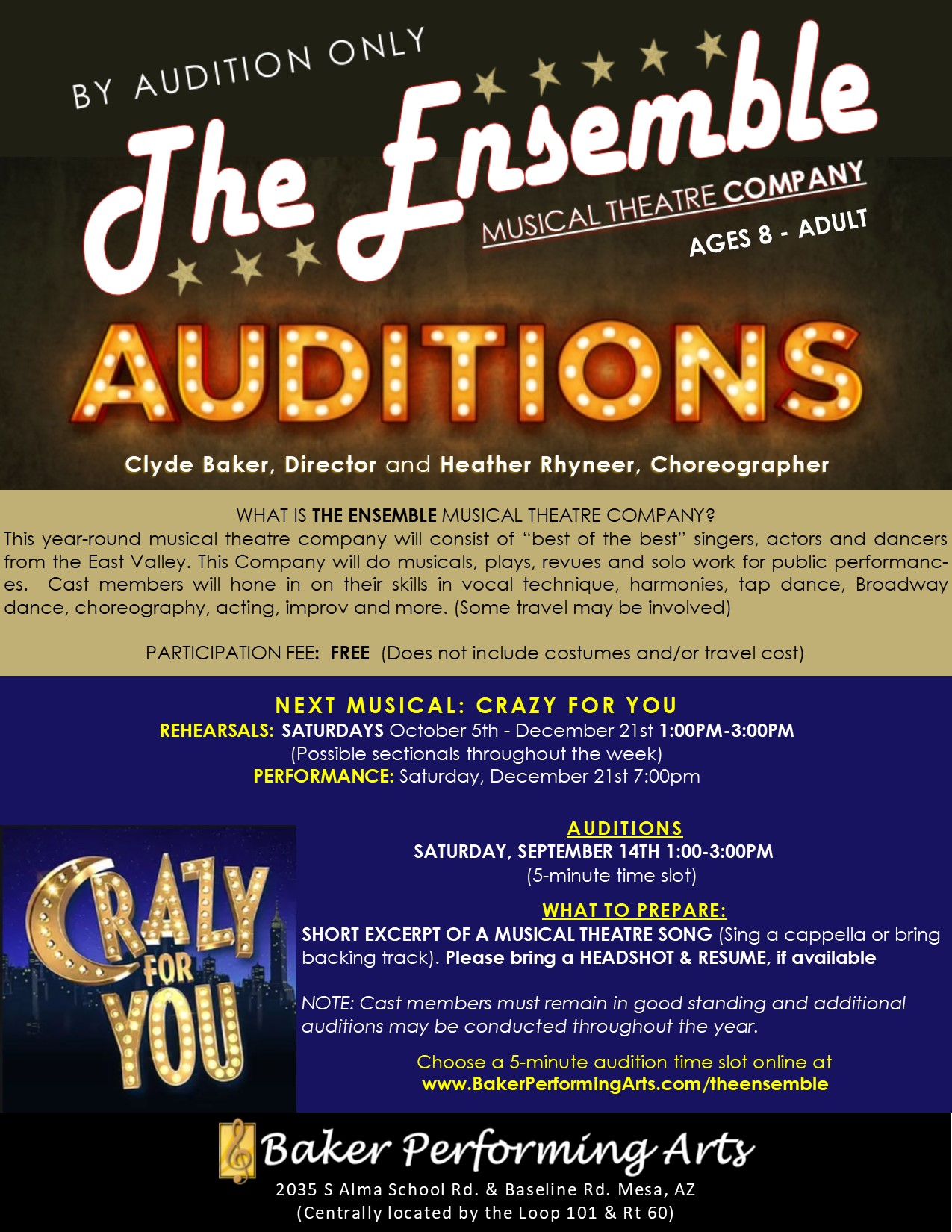 The Ensemble Musical Theatre Company Auditions (Ages 8-Adult