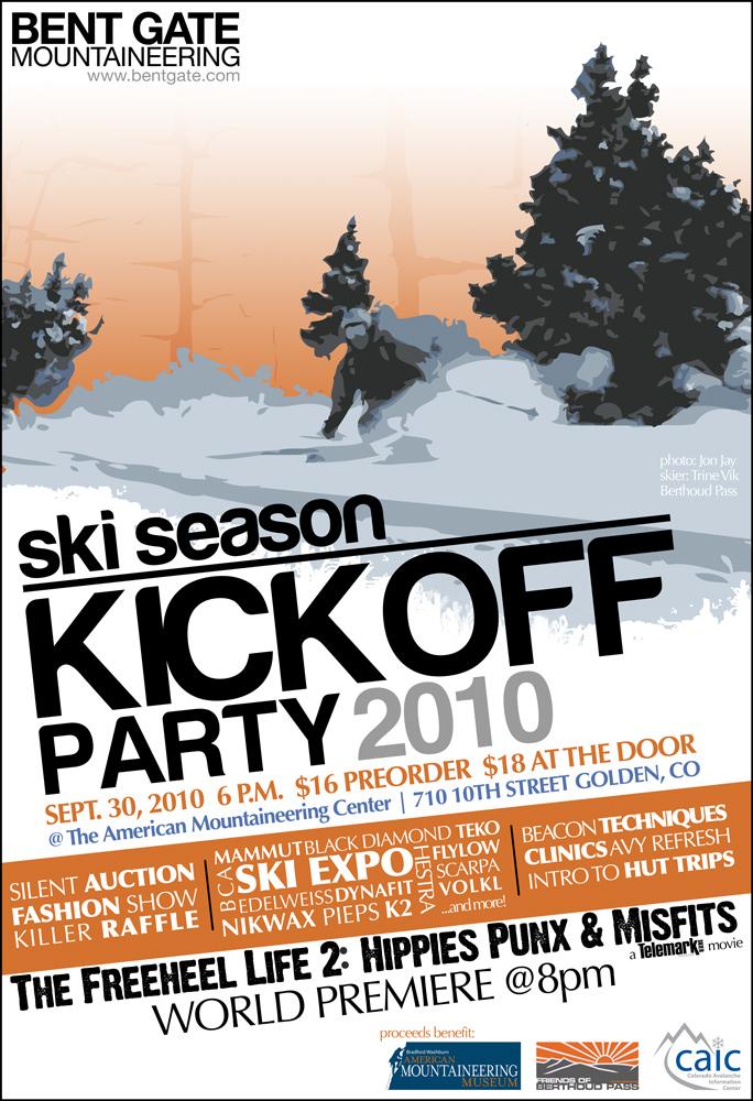 Bent Gate Ski Season Kickoff Party 2010 Poster