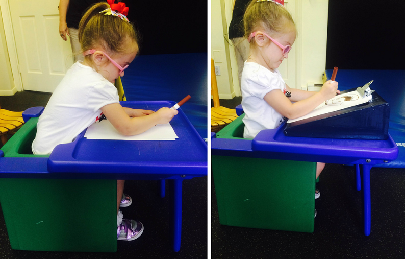 Two images: first,a girl writing on a flat surface, with her back bent.  Second, same girl writing on a slanted easel, with back straight.