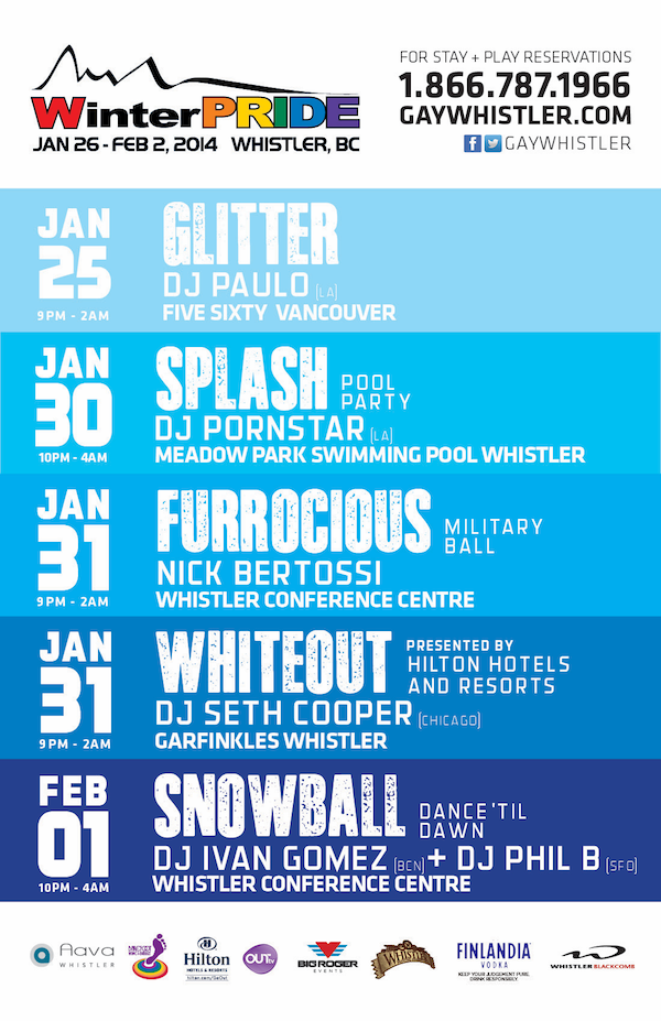 WinterPRIDE Weekend Line Up