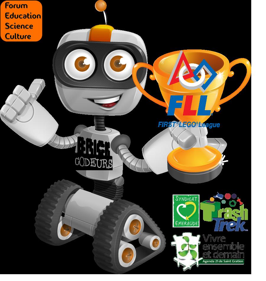 Robot toon mascotte des Brickodeurs