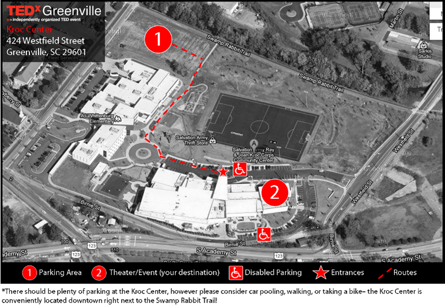 TEDxGreenville 2012: Parking Map & Information