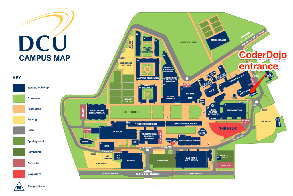This image contain a map of DCU with the location of CoderDojo