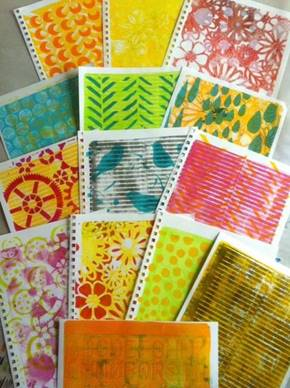 Cards Made Using Strathmore Mixed Media Paper and Gelli Plates