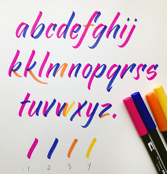 Lettering with a tombo brush pen