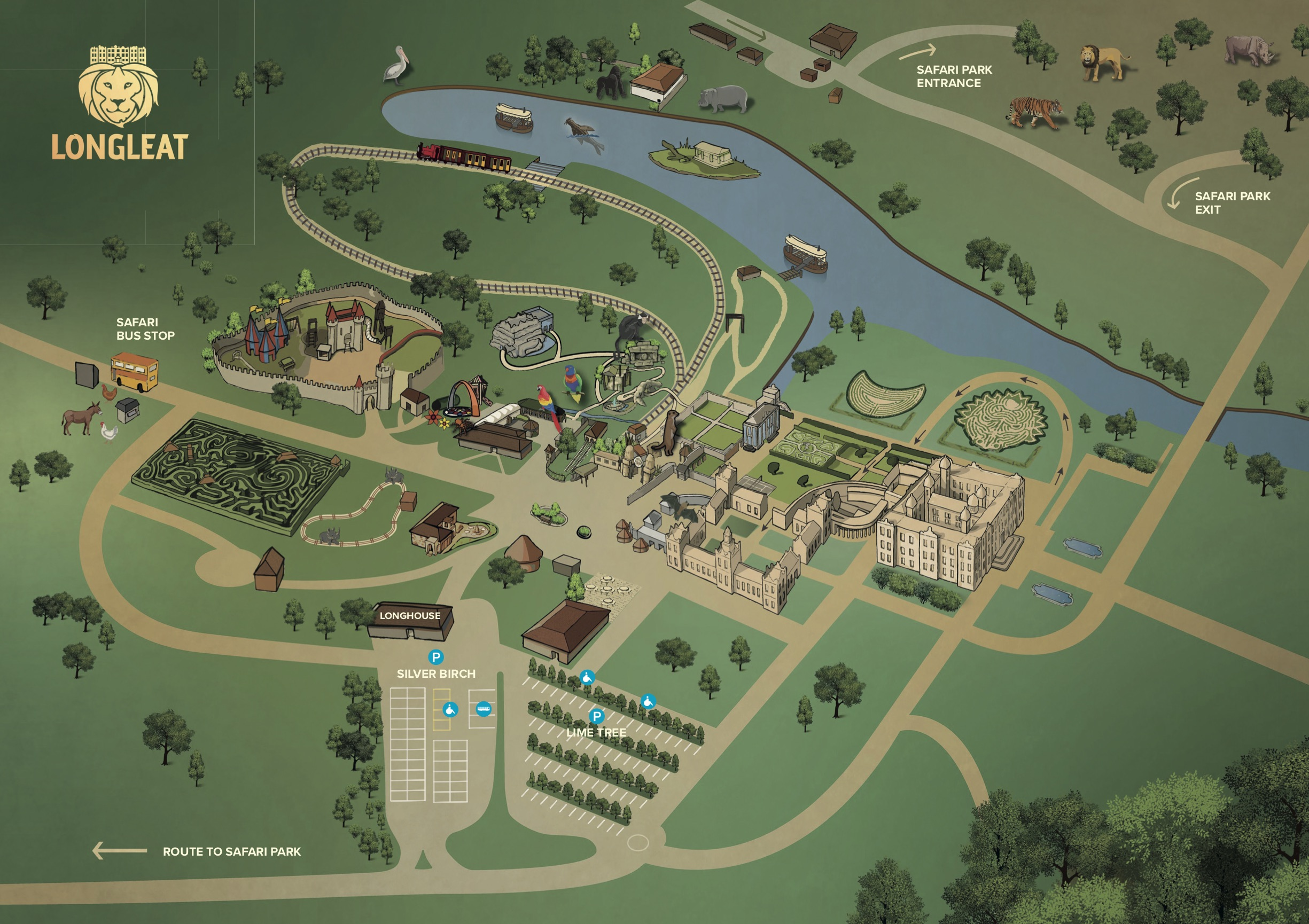 MAP OF LONGLEAT SHOWING LONGHOUSE & PARKING