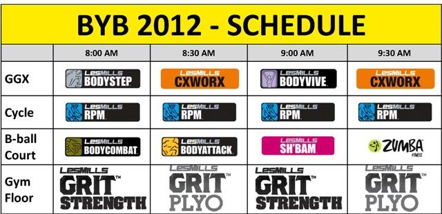 BYB 2012 Schedule
