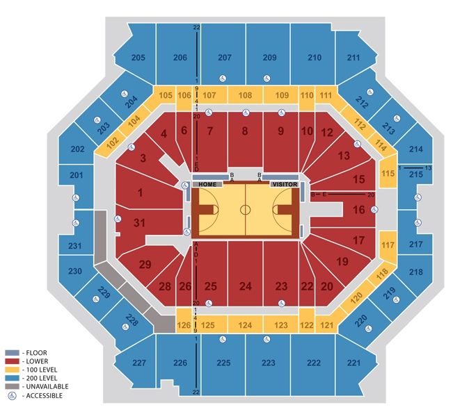 Arena Seating Chart for Basketball