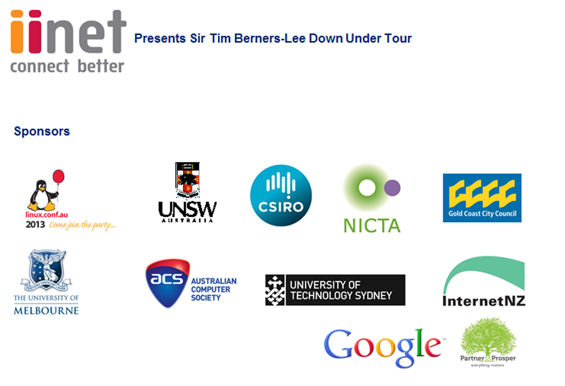 iiNet Tim Berners-Lee Down Under Tour Sponsors