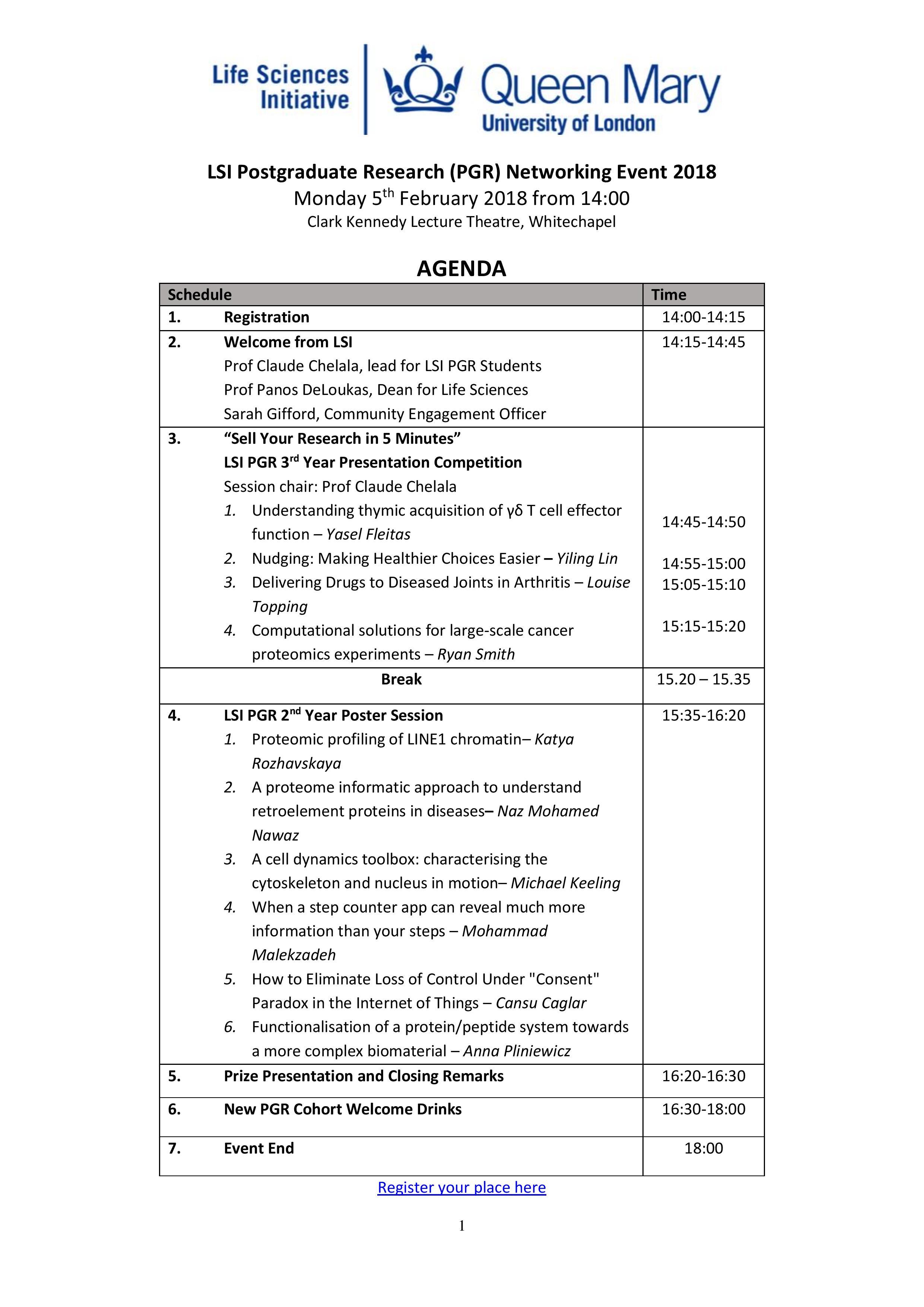 LSI PGR Networking Event Agenda
