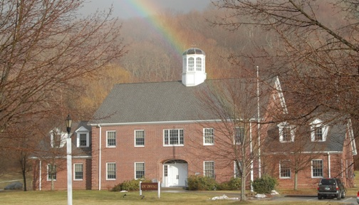 Kent Town Hall with rainbow