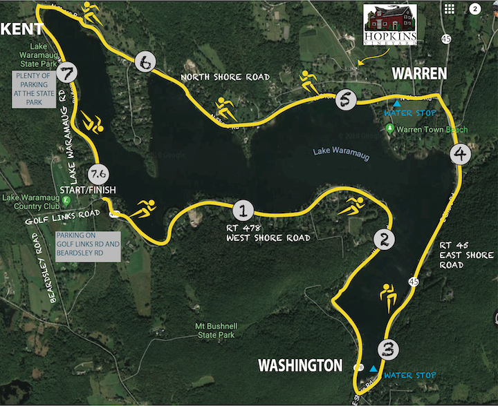 Lake Waramaug Polar Bear Run Race Map