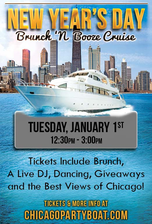New Year's Day Brunch 'N Booze Cruise Party - Tickets include Brunch, a Live DJ, Dancing, Giveaways, and the best views of Chicago!