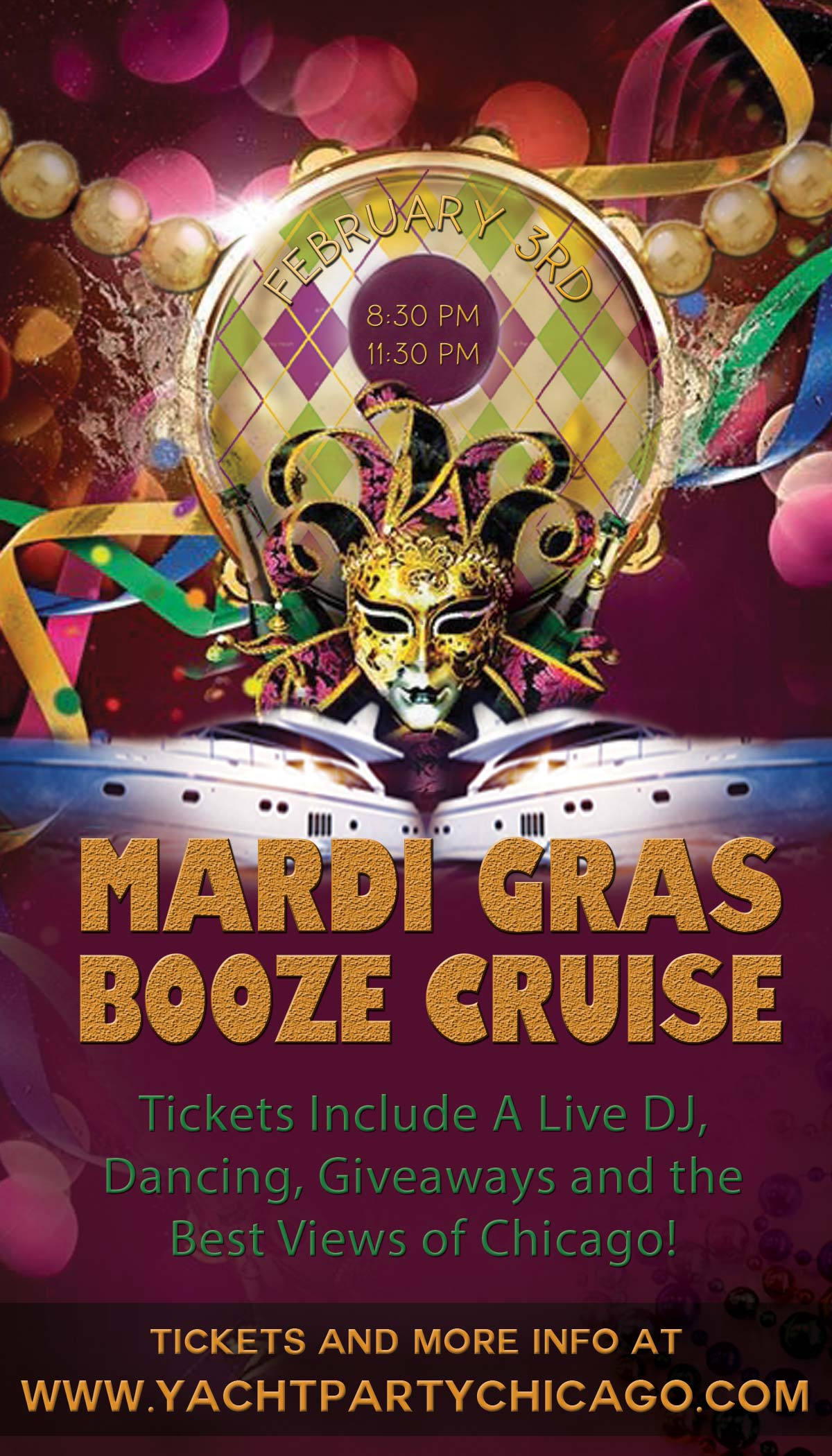 Mardi Gras Booze Cruise Party - Tickets include a Live DJ, Dancing, Giveaways, and the best views of Chicago!