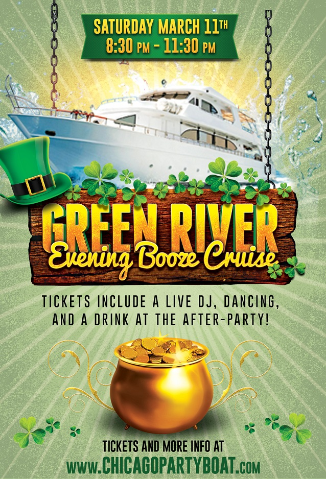Green River Evening Cruise! Tickets include a Live DJ, Dancing, and A Drink At The After-Party! Catch breathtaking views of the skyline while aboard the booze cruise!