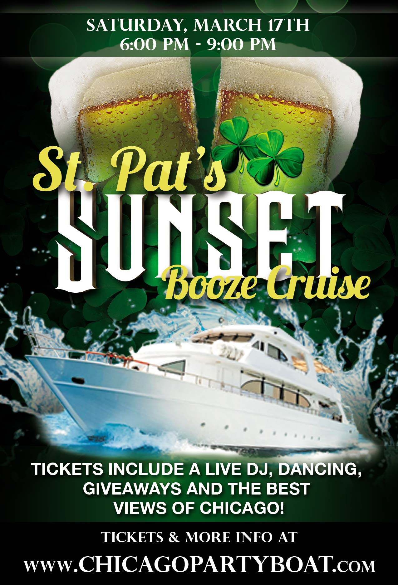 St. Patrick's Day Booze Cruise Party - Tickets include a Live DJ, Dancing, Giveaways, and the best views of Chicago!