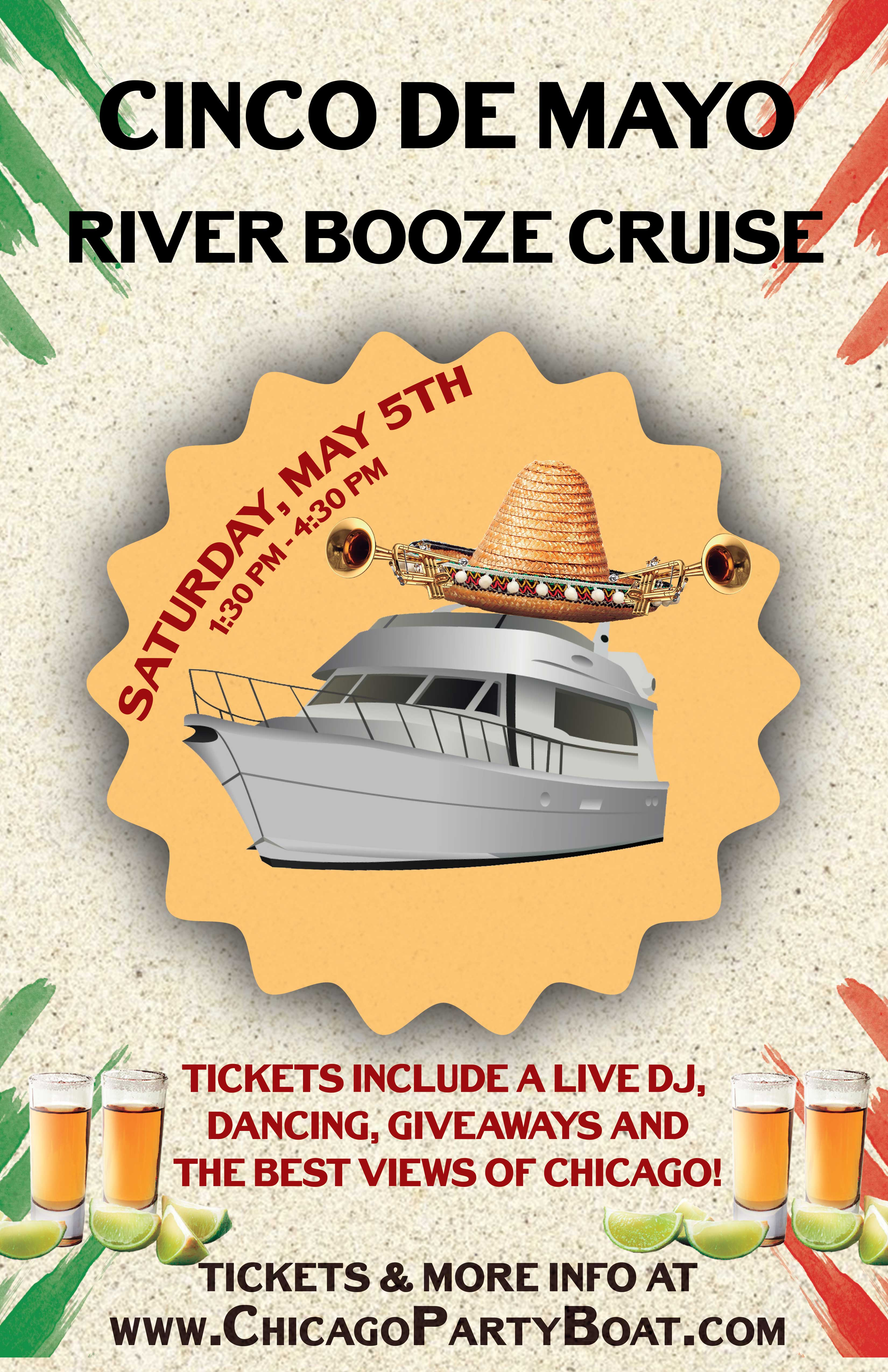 Cinco de Mayo River Booze Cruise Party - Tickets include a Live DJ, Dancing, Giveaways, and the best views of Chicago!