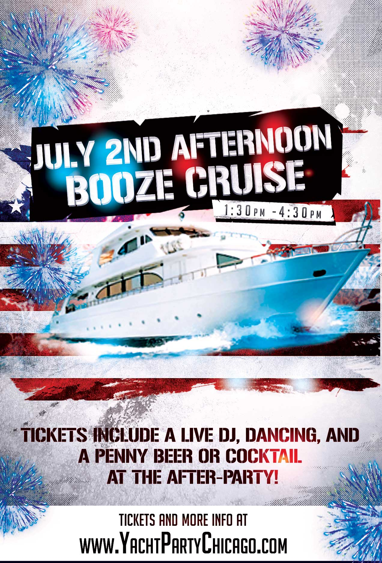 July 2nd Afternoon Booze Cruise on Lake Michigan! Tickets include a Live DJ, Dancing, and A Penny Beer or Cocktail At The After-Party! Catch breathtaking views of the skyline while aboard the booze cruise!